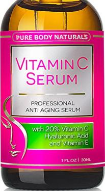 Vitamin C Serum for Face with Hyaluronic Acid, 20% C + E Professional Topical Facial Skin Care Helps Repair Sun Damage, Fade Age Spots, Dark Circles, Wrinkles & Fine Lines BEST ORGANIC - 1 oz.