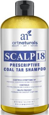 Art Naturals Scalp18 Coal Tar Therapeutic Anti Dandruff Shampoo 16 oz - Helps clear symptoms of Psoriasis, Eczema, Itchy Scalp & Dandruff - Made in USA with Natural & Organic Ingredients-Sulfate Free