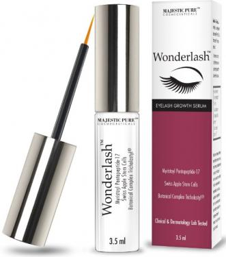 Majestic Pure Eyelash Growth Serum WonderLash - 3.5 ml Cutting Edge Myristoyl Pentapeptide-17 & Swiss Apple Stem Cells Based Formula For Eyelashes and Brows
