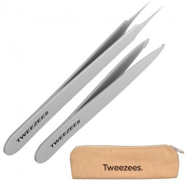 Tweezees Precision Stainless Steel Tweezers - Professional Slant Tip & Splinter Tip Tweezer - Extra Sharp Hair Removal Tool - Best Set for Eyebrow Shaping for Women and Men & Ingrown Hair Treatment.