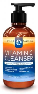 InstaNatural Vitamin C Facial Cleanser - Anti Aging Face Wash with Organic Aloe Vera - Diminishes Wrinkles, Fine Lines, Crows Feet & Minimizes Pores - Moisturizes Skin for Youthful Complexion - 8 OZ