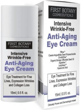 First Botany Cosmeceuticals INTENSIVE WRINKLE FREE ANTI AGING EYE CREAM with Argireline® , Fiflow® and other potent anti-wrinkle peptides, 15 ml