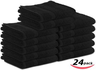 Cotton-Salon-Towels Gym-Towel Hand-Towel 24-Pack Black - (16 inches x 27 inches) 100% Ringspun-Cotton, Maximum Softness and Absorbency, Easy Care - By Utopia Towels