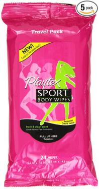 Playtex Sport Playtex Sport Body Wipes Travel Pack, 24 Count, Pack of 5