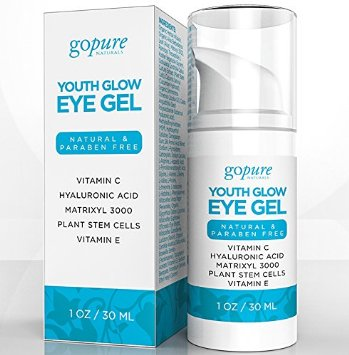 goPURE Natural Eye Cream for Dark Circles, Puffiness, Bags & Wrinkles - With Plant Stem Cells, Matrixyl 3000, Hyaluronic Acid, Cucumber, Vitamins C & E, Aloe, MSM & More. Size: 1 oz