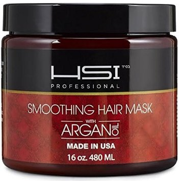 HSI PROFESSIONAL Hydrating smoothing Anti-Frizz Hair Mask for all hair types, infused with vitamins a, b, c, & d. creates silky, smooth and healthy hair. sulfate free. Made in USA. no more split ends (16oz)