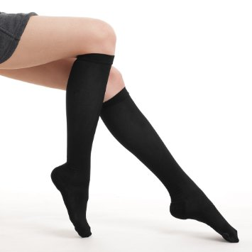 Fytto Style 1020 Women's Comfy Compression Socks, 15-20mmHg, Knee High, Black, Small Size