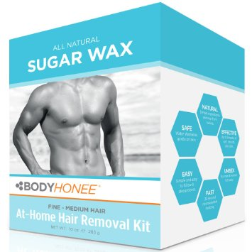 Hair Removal Waxing Kit Men + Women, All Natural | BodyHonee (10 Oz)
