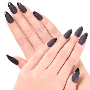 Ejiubas 24 Pcs Black Color Matte with Glossy Finish Full Cover Talone Medium False Nail Tips