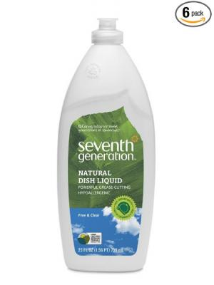 Seventh Generation Dish Liquid, Free & Clear, 25-Ounce Bottles (Pack of 6)