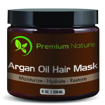 Argan Oil Hair Repair Mask 8 oz. 100% Organic Oils- Condition, and Restore Damaged, Dry & Color Treated Hair, Works For All Hair Types, By Premium Nature