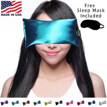Hot Cold Lavender Eye Pillow with Free Eye Mask for Sleep,Yoga, Migraine Headaches, Stress Relief. By Happy Wraps - Aqua