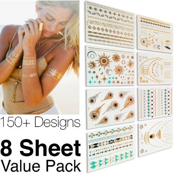 #1 Best Metallic Temporary Tattoos ● 150+ Designs - 8 Sheet Pack ● Gold Silver Temporary Tattoos ● High Gloss Shimmer Effect