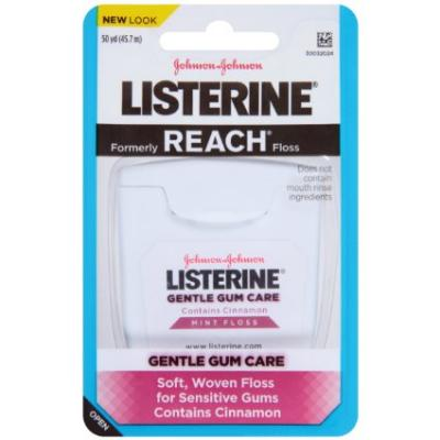 Listerine Gentle Gum Care Woven Floss, Mint with Cinnamon - 50 Yards (Pack of 6)