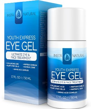 InstaNatural Eye Gel - Cream for Wrinkles, Dark Circles, Crows Feet, Redness & Bags - Anti Aging Moisturizer for Men & Women - Eraser with Hyaluronic Acid Lifts & Firms Saggy Under Eye Skin - 1.7 OZ