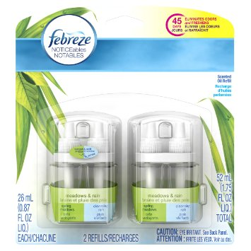 Febreze Noticeables Air Freshener Refill, Meadows and Rain, 1.758 Ounce, 2 Count