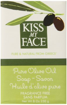 Kiss My Face Naked Pure Olive Oil Soap, Moisturizing Bar Soap, 8 ounce Bars (pack of 8)