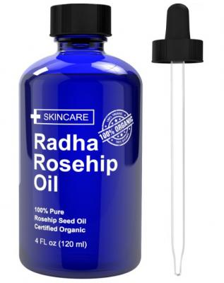 Radha Beauty Rosehip Oil - 100% Pure Cold Pressed Certified Organic 4 fl. oz. - BEST moisturizer to heal Dry Skin & Fine Lines - Virgin Rose Hip Seed Oil For Face and Skin
