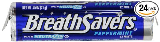 BREATH SAVERS Mints (Peppermint, 0.75-Ounce Rolls, Pack of 24)