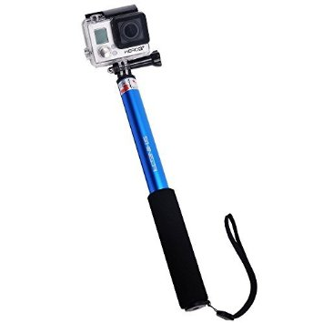 "Shineda SD-208 Telescopic GoPro Selfie Stick Pole for GoPro Hero 2 3 3+ 4, GoPro Hero 4 Session , 36"" (Blue)"