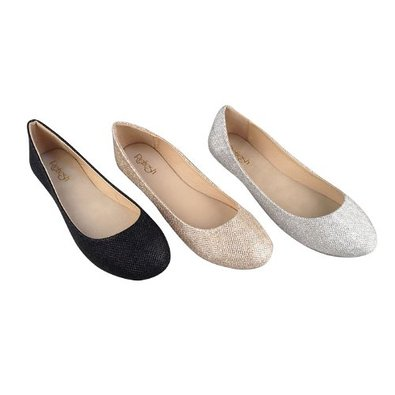 Refresh Demi-07 Ballet Ballet-Flats, Black Canvas, 5