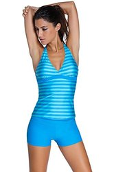 Dokotoo Womens Stripes Lined Up Double Up Tankini Top Swimwear