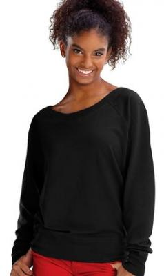 Lat Juniors' Lightweight French Terry Slouchy Pullover (Black) (S)