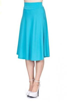 Stretch High Waist A-line Flared Long Skirt (S, Aqua)