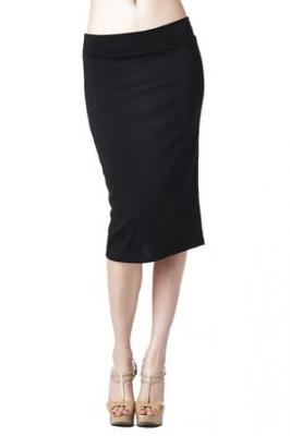 82 Days Women'S Ponte Roma Regular To Plus Below Knee Pencil Skirt - Black S