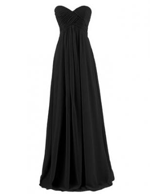 Dresstells Sweetheart Bridesmaid Chiffon Prom Dresses Long Evening Gowns for Juniors Size 2 Black