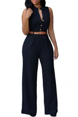 HOTAPEI Women Button Belted Sleeveless Wide Leg Jumpsuit Small Black1