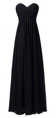 Ouman Sweetheart Bridesmaid Chiffon Prom Dress Long Evening Gown Black 3XL