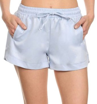 Simplicity Women Solid Colored Elastic Drawstring Waistband Summer Shorts Blue S