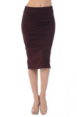 Jubilee Couture Women's Ponte Roma Midi Pencil Skirt (Small, Brown)