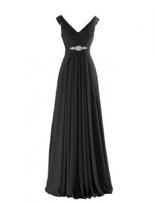Yougao Women's V Neck A-Line Chiffon Long Floor Length Evening Dress Gown US 2 Black