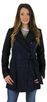 Jessica Simpson Faux Leather Sleeve Trench Coat Jacket Blue Sz XS