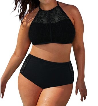 EVALESS Womens Stylish Patterned High Waisted Bikini Set Swimsuit Large Size Black