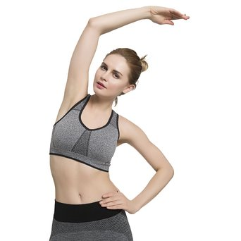 Women's Sports Bras Wire Free High Impact Support Seamless Yoga bra with Removable Cups (Small, Black Grey Heather )