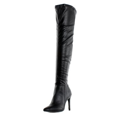 Breckelles Beverly-16 Women Faux Suede Pointy Toe Stiletto Heel Over The Knee Thigh High Boot,Black Pu,6