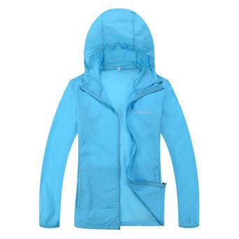 Woman Lightweight Water Repellent Skin Coat CHAREX Sun Protection Outdoor Jacket Blue S