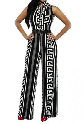 Pink Queen Womens Geometric Print Sleeveless Loose Long Belted Jumpsuits Rompers