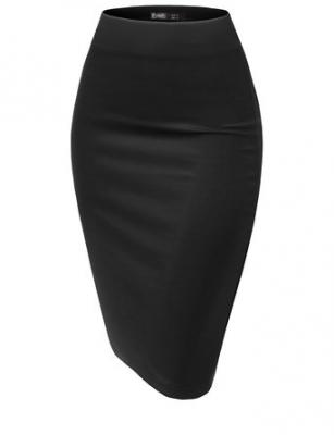 Thanth Womens Elastic Waist Band Scuba Fabric Pencil Skirt, BLACK, XS