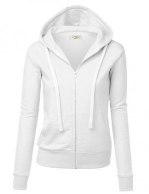 MBJ WSK193 Womens Active Soft Zip Up Fleece Hoodie Sweater Jacket S WHITE