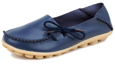 Kunsto Women's Leather Casual Loafer Shoes US Size 5 Blue