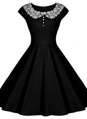 Miusol Womens Classy Vintage Audrey Hepburn Style 1940s Rockabilly Evening Dress, Small