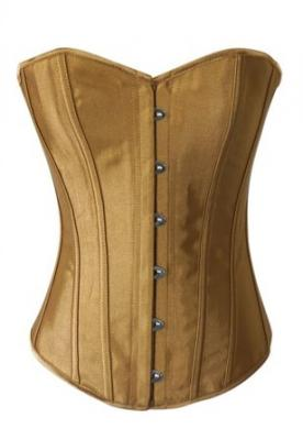 Chicastic Beige Gold Satin Sexy Strong Boned Corset Lace Up Bustier Top - Small