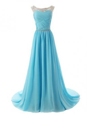 Dressystar Beaded Straps Bridesmaid Prom Dresses with Sparkling Embellished Waist Size 16W Blue