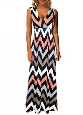 Kranda® Women's V Neck Sleeveless Elastic Waist Striped Maxi Dress (Small, Black Printed)