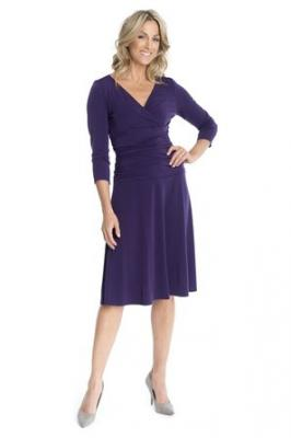 Rekucci Women's Slimming 3/4 Sleeve Fit-and-Flare Crossover Tummy Control Dress (2,Aubergine)