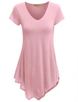 Doublju Womens Short Sleeve V-Neck Tunic Top With Handkerchief Hem BABYPINK SMALL